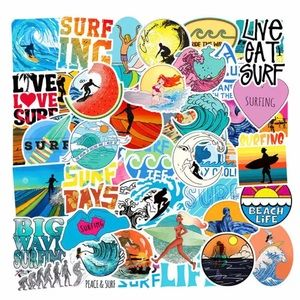 50 pcs summer beach surfing stickers